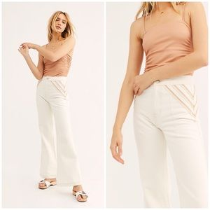 Free People Over The Rainbow Flare Jeans Ivory New